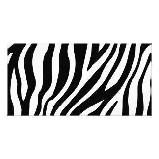 Zebra Print Black And White Stripes Pattern Photo Card