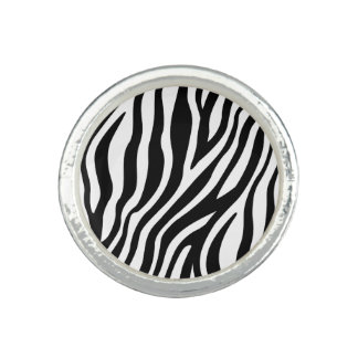 Zebra Print Black And White Stripes Pattern Photo Ring