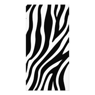 Zebra Print Black And White Stripes Pattern Picture Card