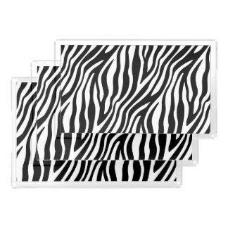 Zebra Print Black And White Stripes Pattern Serving Tray