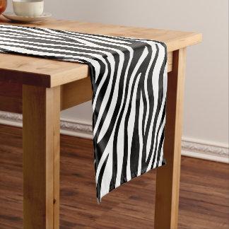 Zebra Print Black And White Stripes Pattern Short Table Runner