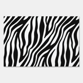 Zebra Print Black And White Stripes Pattern Sign
