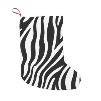 Zebra Print Black And White Stripes Pattern Small Christmas Stocking
