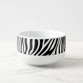 Zebra Print Black And White Stripes Pattern Soup Mug