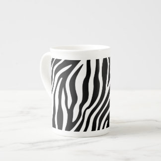 Zebra Print Black And White Stripes Pattern Tea Cup