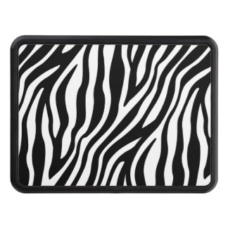 Zebra Print Black And White Stripes Pattern Trailer Hitch Cover