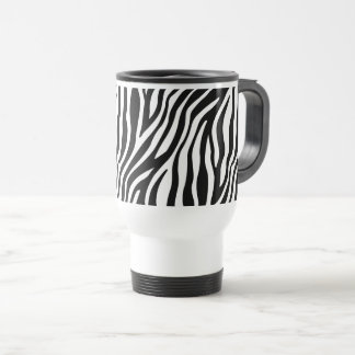 Zebra Print Black And White Stripes Pattern Travel Mug