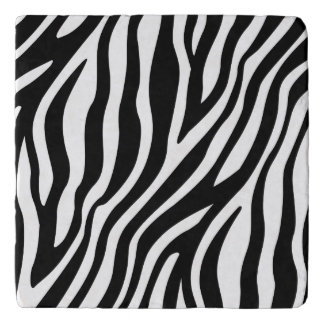 Zebra Print Black And White Stripes Pattern Trivet