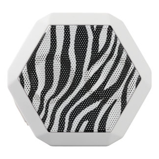 Zebra Print Black And White Stripes Pattern White Bluetooth Speaker