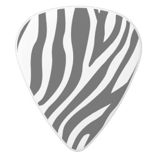Zebra Print Black And White Stripes Pattern White Delrin Guitar Pick