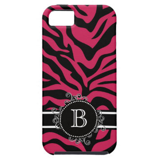 Zebra Print Black  Hot Pink Swirly Monogram iPhone 5 Case