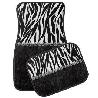 Zebra print black velvet diamond bling car floor carpet
