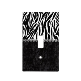 Zebra print black velvet diamond bling light switch cover