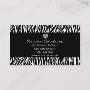 Heart shaped business cards business card printing zazzle ca zebra print black w heart shaped diamond business card colourmoves