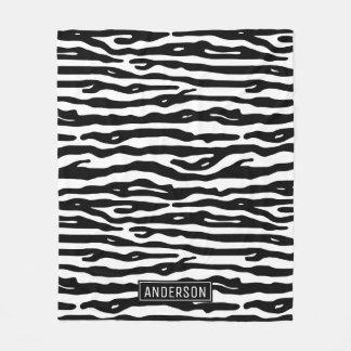 Zebra Print Black White Animal Pattern Custom Name Fleece Blanket