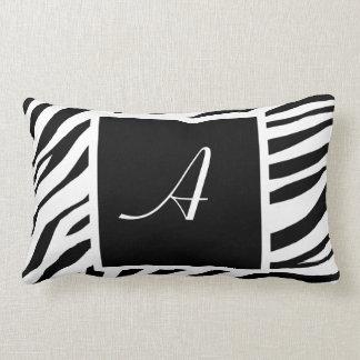 Zebra Print Black & White Monogram Lumbar Pillow