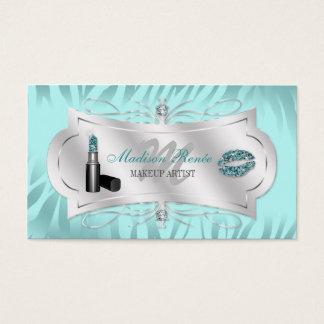 Zebra Print Blue Ice Glitter Cosmetologist Business Card