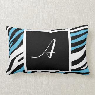 Zebra Print Blue Mix Monogram Lumbar Pillow