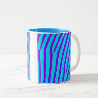 Zebra Print (Blue & Purple) Two-Tone Coffee Mug
