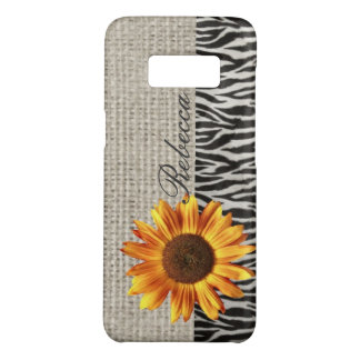 zebra print burlap rustic western  yellow daisy Case-Mate samsung galaxy s8 case