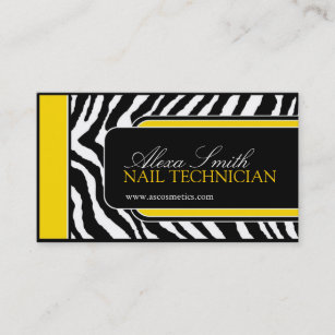Bold nail technician business cards profile cards zazzle ca zebra print business card reheart Image collections