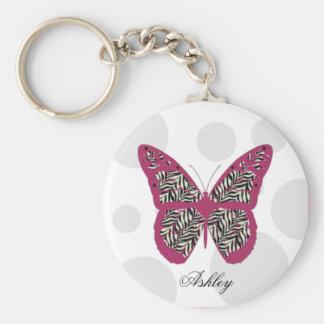 Zebra Print Butterfly Keychain