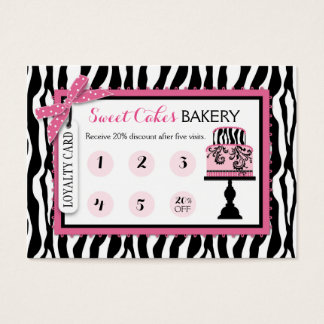 Zebra Print Cake Bakery Business Loyalty Card