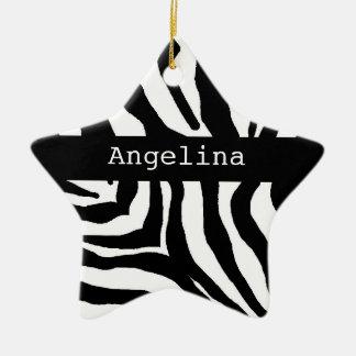 Zebra Print Christmas Personalized Name Ornament
