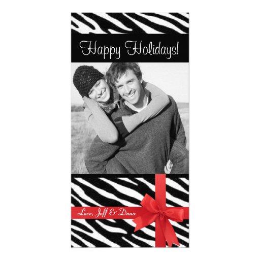Zebra print christmas photocard photo card