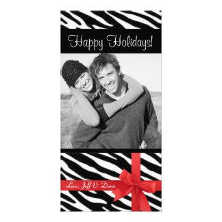 Zebra print christmas photocard photo cards