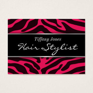 Zebra Print Cosmetology Appointment Card (Pink)