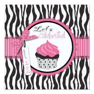 "Zebra Print & Cupcake 5.25"" Square Invitation Card"