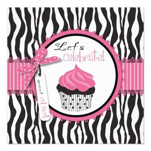 Zebra Print & Cupcake Invites