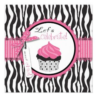 Zebra Print Cupcake Invites