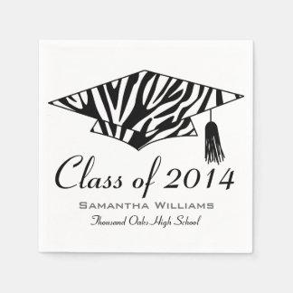 Zebra Print Custom Name Graduation Napkins Paper Napkin