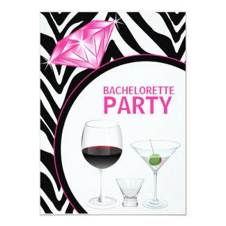 "Zebra Print & Diamond Bachelorette Party 5"" X 7"" Invitation Card"