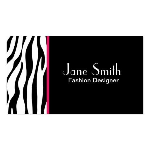 Zebra Print Fashion Designer Hair Stylist Salon Business Card Template