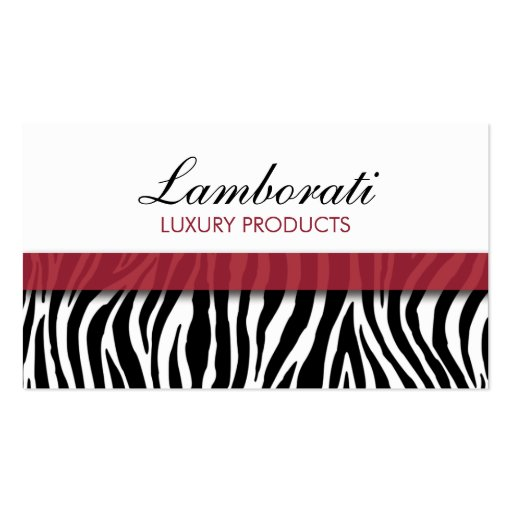 Zebra Print Fashion Elegant Modern Classy Maroon Business Card