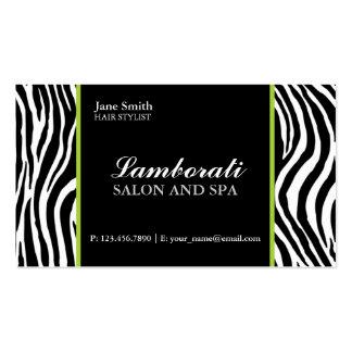 Zebra Print Fashion Hair Stylist Salon Green Business Card