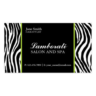 Zebra Print Fashion Hair Stylist Salon Green Pack Of Standard Business Cards