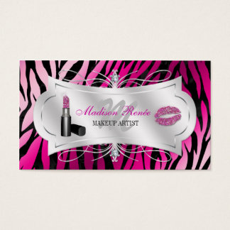 Zebra Print Fuchsia Black Glitter Cosmetology Business Card