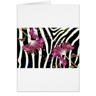Zebra Print / Fuchsia  Lotus Flower Design Card