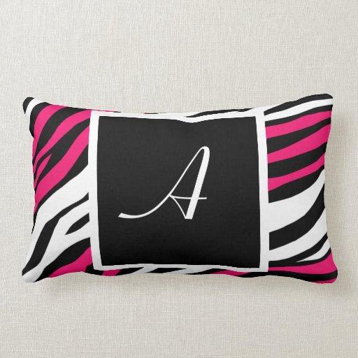 Zebra Print Fuchsia Mix Monogram Lumbar Pillow