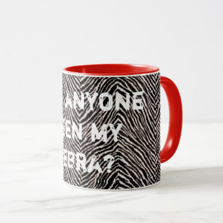 Zebra Print Funny Cool Black Red White Memorable Mug
