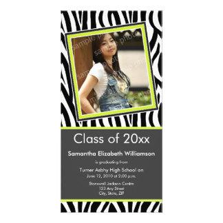 Zebra Print Graduation Photo Announcement (lime) Photo Cards