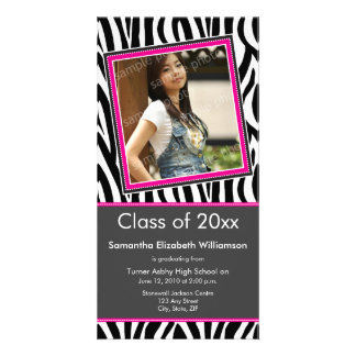 Zebra Print Graduation Photo Announcement (pink) Customized Photo Card