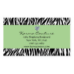 zebra print green w/ heart shaped diamond business card