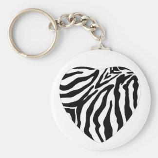 Zebra Print Heart Key Chain