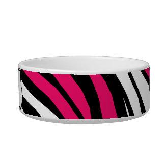 Zebra Print Hot Fuchsia Mix Personalized Cat Bowl