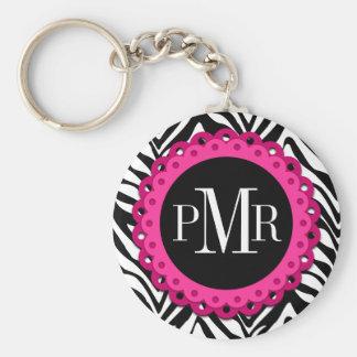 Zebra Print Hot Pink Lace Monogram Personalized Keychain